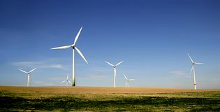 Wind turbines farm royalty free stock photography