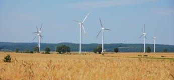 Wind turbines farm. Alternative energy source Stock Photography