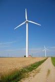 Wind turbines farm. Alternative energy source Stock Images
