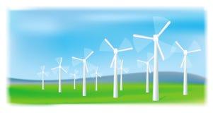 Wind turbines farm. Alternative energy source. Wind turbines farm. Alternative energy source Royalty Free Stock Photography