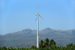 Wind turbines farm - alternative energy source Stock Photo