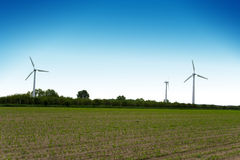 Wind turbines farm. Alternative energy source. Stock Photo