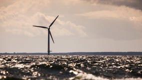 Wind turbines farm in Baltic Sea, Denmark Stock Image
