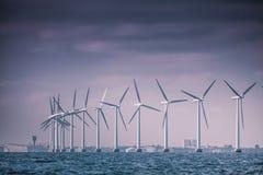 Wind turbines farm in Baltic Sea, Denmark Royalty Free Stock Photos