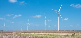 Wind turbines farm on cotton field at Corpus Christi, Texas, USA Stock Photo
