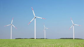 Wind turbines farm, eco technology energy background stock footage