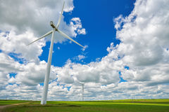 Wind turbines farm in the fields Royalty Free Stock Photos