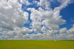 Wind turbines farm in the fields Stock Photos