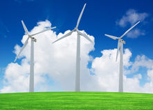 Wind turbines farm on green field Royalty Free Stock Image
