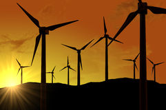 Wind turbines farm (power generating windmills) Stock Photos