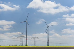 Wind turbines farm Stock Images