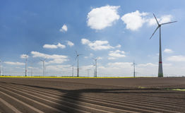 Wind turbines farm Stock Photo