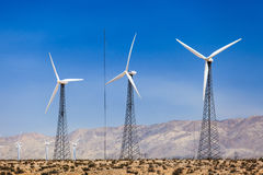 Wind turbines farm. For renewable electric energy production Royalty Free Stock Image