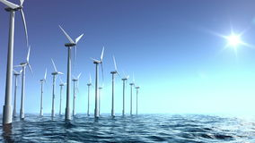 Wind turbines farm in the sea