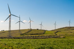 Wind turbines. Turbines in a wind farm in the sicilian countryside Stock Photography