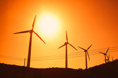 Wind turbines farm silhouettes Stock Photography