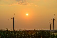 Wind turbines farm at sunset in Dobrogea Stock Images