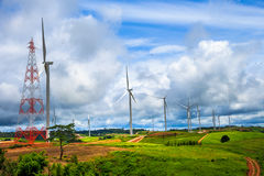Wind-turbines farm Stock Photos