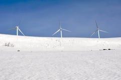 Wind turbines farm in winter, Alava (Spain) Stock Photos