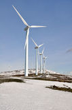 Wind turbines farm in winter (Basque Country) Royalty Free Stock Photography