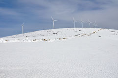 Wind turbines farm in winter (Basque Country) Royalty Free Stock Photo