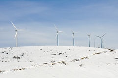 Wind turbines farm in winter (Spain) Stock Images