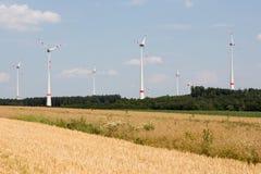 Wind turbines in the farmland of Germany Stock Photos