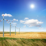 Wind turbines on the field stock photography