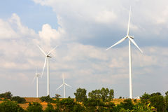 Wind turbines field Stock Photo
