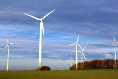 Wind turbines on a field Stock Photography