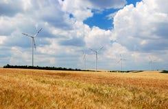 Wind turbines in a field. Wind turbines in a wheat field royalty free stock photos