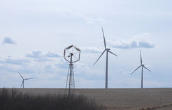 Wind turbines in field in Alberta Royalty Free Stock Images