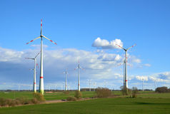 Wind turbines at the field Stock Images