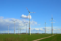Wind turbines at the field Royalty Free Stock Images