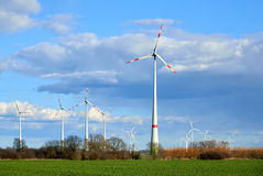 Wind turbines at the field Stock Photography