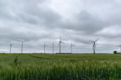 Wind turbines on a field in Germany stock photos