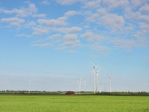 Wind turbines in field Stock Photography