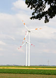 Wind turbines in the field Stock Images