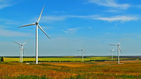 Wind turbines on field. Scenic view of rotating wind turbines on field against blue sky stock footage