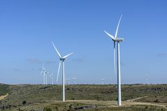 Wind turbines in a field in Spain stock photography