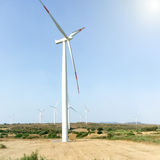 Wind turbines on the field Royalty Free Stock Photo