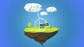 Wind turbines on floating island, low poly style. Stock Photo