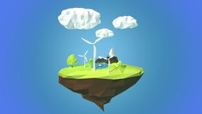 Wind turbines on floating island, low poly style. stock video footage
