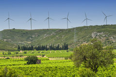 Wind turbines in France Stock Photo