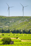 Wind turbines in France Stock Images