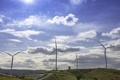 Wind turbines generate electricity on the Moutain at Khao Kho of phetchabun in Thailand.  stock photography