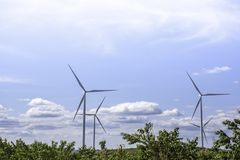 Wind turbines generate electricity on the Moutain at Khao Kho of phetchabun in Thailand.  royalty free stock photo