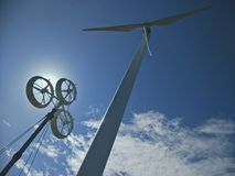 Wind turbines generate electricity. Save energy for earth royalty free stock photo