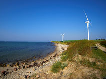Wind turbines generating electricity. Alternative renewable energy stock images