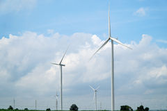 Wind turbines generating electricity. Eco power royalty free stock photo